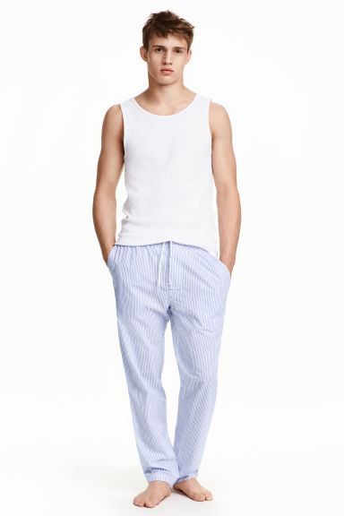 Patterned pyjama bottoms - White/Blue striped - Men | H&M CN 1