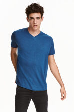 V-neck T-shirt Regular fit - Blue marl - Men | H&M CN 1