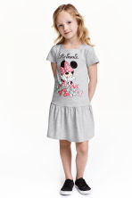 Printed jersey dress - Grey marl/Minnie Mouse - Kids | H&M CN 1