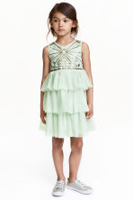 Sequined tulle dress - Mint green - Kids | H&M CN 1