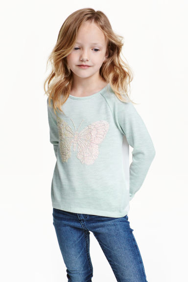 Glitter-print jumper - Mint green/Butterfly - Kids | H&M CN 1