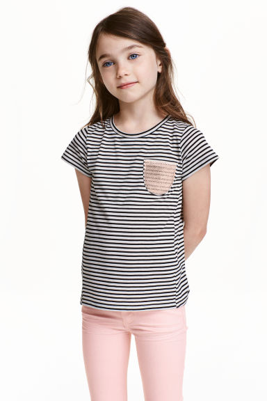 Striped jersey top - Black/White/Striped - Kids | H&M CN 1