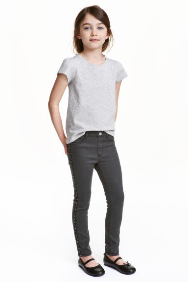 Treggings with studs - Nearly black - Kids | H&M CN 1