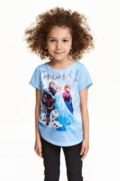 Top with sequined embroidery - Light blue/Frozen - Kids | H&M CN 1