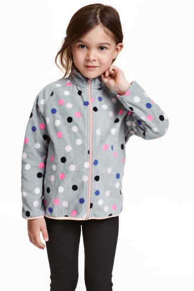 Fleece jacket - Grey/Spotted - Kids | H&M CN 1