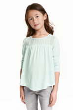 Top with lace - Light mint green - Kids | H&M CN 1
