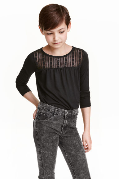 Top with lace - Black -  | H&M CN 1