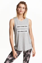 Sports vest top - Light grey marl - Ladies | H&M CN 1