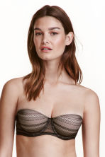 Lace balconette bra - Black/Light beige - Ladies | H&M CN 1