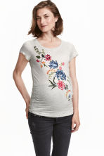 MAMA Jersey top with a motif - Light grey/Floral - Ladies | H&M CN 1