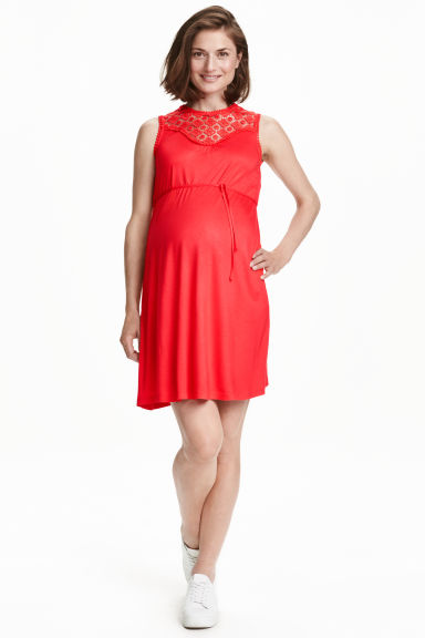 MAMA Jersey dress with lace - Red - Ladies | H&M CN