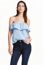 Strapless flounced top - Blue/Striped - Ladies | H&M CN 1