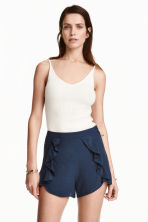 Shorts with flounces - Dark blue - Ladies | H&M CN 1