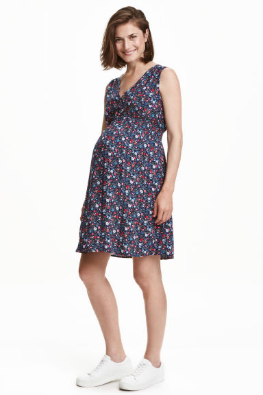 MAMA Patterned dress - Dark blue/Floral - Ladies | H&M CN 1