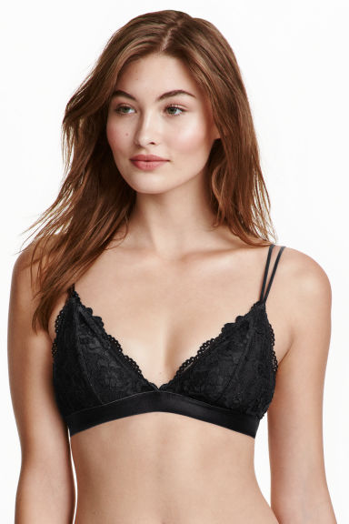 Soft lace bra - Black - Ladies | H&M CN 1