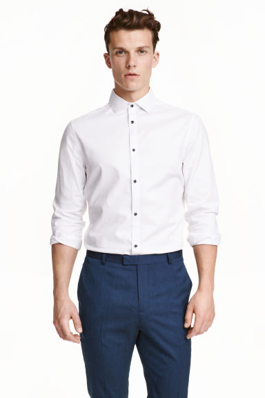 Cotton shirt Slim fit - White - Men | H&M CN 1