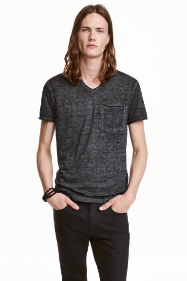 T-shirt with raw edges - Black marl - Men | H&M CN 1