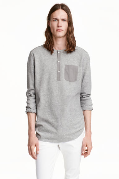 Jersey Henley shirt - Grey marl - Men | H&M CN 1