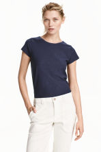Jersey top - Dark blue marl - Ladies | H&M CN 1
