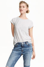 Jersey top - Light grey marl - Ladies | H&M CN 1