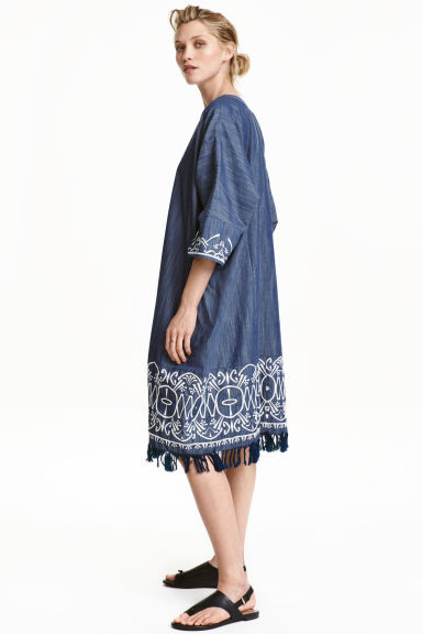 Embroidered kimono - Dark denim blue - Ladies | H&M CN 1