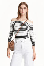 Off-the-shoulder top - White/Striped - Ladies | H&M CN 1