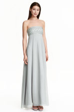 Beaded chiffon maxi dress - Light grey -  | H&M CN 1