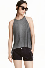 Ribbed top - Dark grey - Ladies | H&M CN 1