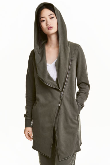 Hooded sweatshirt cardigan - Khaki green - Ladies | H&M CN 1