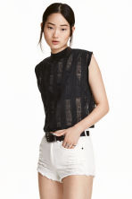 Trashed jersey top - Black - Ladies | H&M CN 1