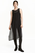 Sleeveless chiffon tunic - Black - Ladies | H&M CN 1