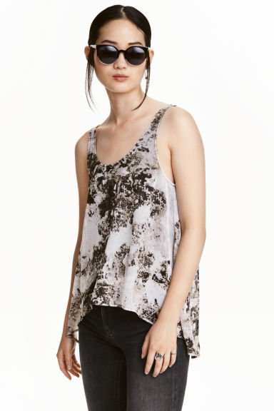 Chiffon top - Black/White/Patterned - Ladies | H&M CN 1