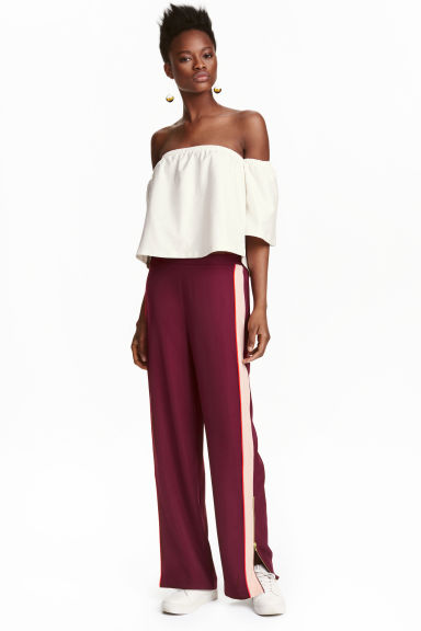 Wide trousers with side stripe - Burgundy/Powder -  | H&M GB