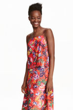 Sleeveless top - Red/Floral - Ladies | H&M CN 1