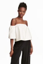 Off-the-shoulder crop top - White - Ladies | H&M CN 1