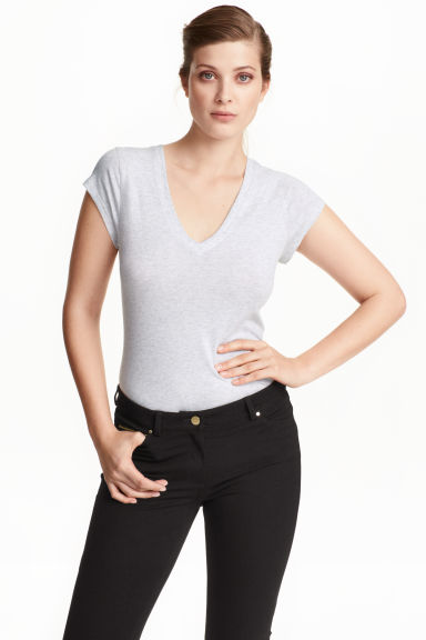 Top in pima cotton - Light grey marl - Ladies | H&M CN 1