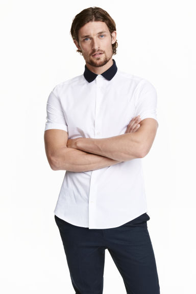 Shirt in premium cotton - White - Men | H&M CN 1