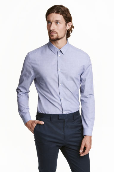Shirt in premium cotton - Blue - Men | H&M CN 1