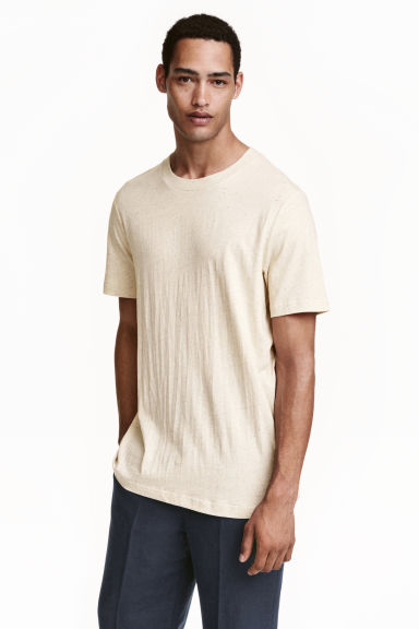T-shirt in a linen blend - Light beige marl - Men | H&M CN 1