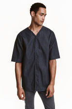 Denim baseball shirt - Dark denim blue - Men | H&M CN 1