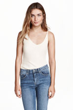 Ribbed strappy top - White - Ladies | H&M CN 1