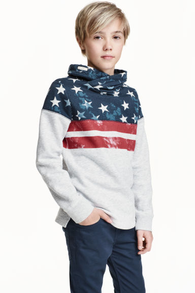 Funnel-collar sweatshirt - Light grey marl - Kids | H&M CN