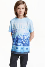 Printed T-shirt - Light blue/Blue - Kids | H&M CN 1
