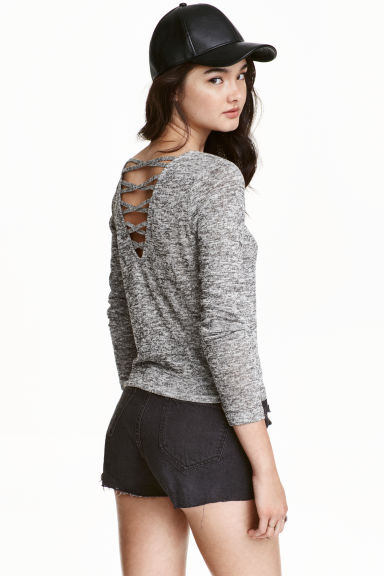Fine-knit top - Black/White marl - Ladies | H&M CN 1