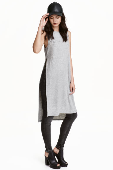 Long vest top - Grey marl - Ladies | H&M CN