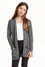 Fine-knit cardigan - Black marl - Kids | H&M CN 1