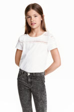 Jersey top with a lace yoke - White - Kids | H&M CN 1