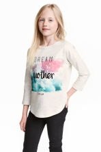 Sweatshirt with a motif - Light beige marl - Kids | H&M CN 1