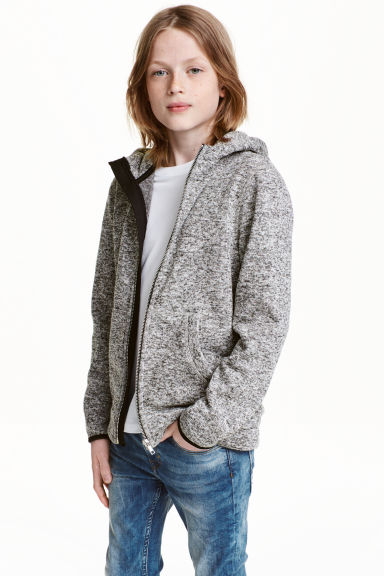 Knitted fleece jacket - Grey marl -  | H&M CN 1