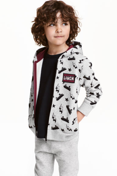 Patterned hooded jacket - Light grey/Skateboard - Kids | H&M CN